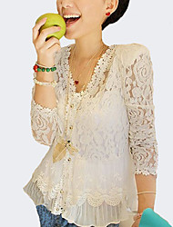Damen Solide Sexy AusgehenV-Ausschnitt Frühling / Sommer / Herbst Langarm Weiß Polyester Dünn