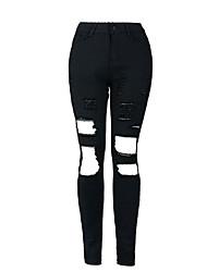 Women's Solid Black Jeans PantsStreet chic