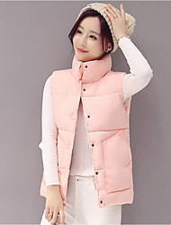 Women's Solid Pink / White / Black Padded CoatSimple Round Neck Sleeveless Winter Vest
