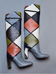 Damen-Stiefel-Outddor-PU-Blockabsatz-Modische Stiefel-Grau