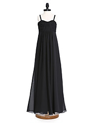 Lanting Bride® Floor-length Chiffon Junior Bridesmaid Dress A-line Spaghetti Straps with Criss Cross / Ruching