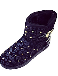 Women's Boots Winter Snow Boots / Round Toe Horse Hair / Fur / Casual Flat Heel Buckle / Black / Silver / Gold