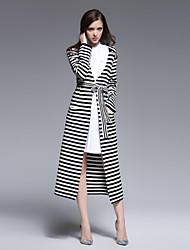 Boutique S  Going out Street chic Tunic DressStriped Deep V Midi Long Sleeve White / Black Wool Spring