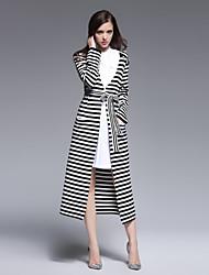 perca francês saindo rua túnica chique dressstriped profunda v midi manga longa primavera / preto de lã branca