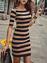 Women's Casual/Daily Sexy Sheath Dress,Striped Round Neck Above Knee Short Sleeve Black / Green Cotton Fall