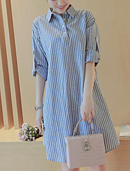 Going out Street chic Loose Dress,Striped Shirt Collar Above Knee Linen