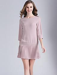 Eosciy® Damen Rundhalsausschnitt 3/4 Ärmel Über dem Knie Kleid-80208