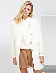 C+IMPRESS Women's Work Simple CoatSolid V Neck Long Sleeve Winter White Wool / Rayon Medium