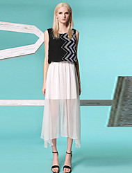 burdully sortir simples / rue gaine chic, dressfloral / color block midi col rond manches blanc