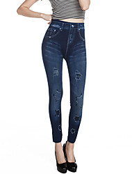 Women Print Denim Legging,Cotton Spandex