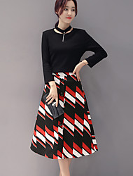 Women's Going out Street chic Fall Set Skirt,Print Round Neck Long Sleeve Black Polyester Medium