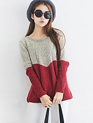 Damen Kurz Pullover-Ausgehen / Lässig/Alltäglich Einfach / Niedlich Einfarbig Blau / Rot Rundhalsausschnitt Langarm Acryl / Polyester