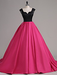 A-Line Notched Court Train Satin Formal Evening Dress with Buttons