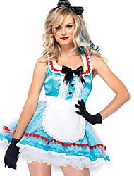 Fantasias Fantasias de Filme e Tema de TV Dia Das Bruxas Azul Céu Patchwork Terylene Vestido / Mais Acessórios