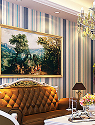 Modern Blue Vertical Striped Wallpaper Non Woven Colorful Contact Paper Bedroom Wall Paper For Walls