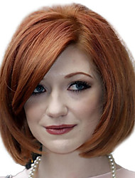 Women Short Curly Side Bang Synthetic Hair Wig Dark Brown with Hair Net