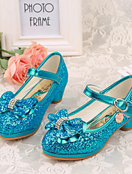 Girl's Heels Spring Fall Basic Pump PU Dress Low Heel Crystal Bowknot Blue Pink Silver Others