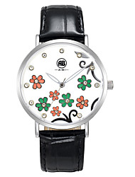 Carol Silver Case Flower Dial Black Leather Strap Watch
