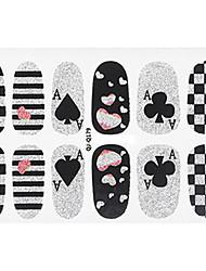 Fashion Poker Style Glitter Silver and Black Nail Decal Art Sticker Gel Polish Manicure
