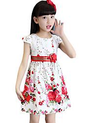 Robe Fille de Fleur Sortie Coton Eté Rouge