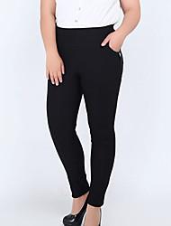 Mulheres Calças Simples Skinny / Chinos Náilon Micro-Elástica Mulheres