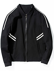 Men's Long Sleeve Casual / Sport JacketPolyester Solid Black / White