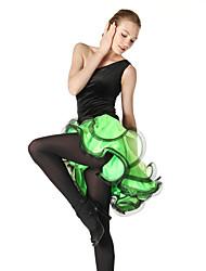 Danse latine Robes et Jupes Femme Spectacle Entraînement Crêpe Velours Viscose Ruché 1 Pièce Sans manche Robe