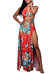 Women's Going out / Party/Cocktail / Club Sexy Loose DressFloral Halter Maxi Sleeveless Red Polyester Summer
