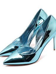 Damen-High Heels-Lässig-Kunstleder-Stöckelabsatz-Absätze / Spitzschuh / Geschlossene Zehe-Schwarz / Blau / Rosa / Silber / Champagner /