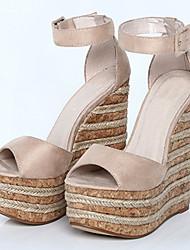 Women's Sandals Summer Heels / Peep Toe / Platform Fabric Party & Evening / Dress / Casual Wedge Heel Buckle / Braided
