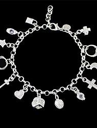 Silver Plated Rhinestone Heart Key Charms Bracelets