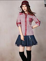 Chemise Aux femmes,Broderie Sortie Vintage Printemps / Automne Manches Longues Col de Chemise Rouge Coton Moyen