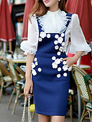 Women's 2015 New Spring Three-dimensional Decals  Cute Braces Skirts Blue / Gray Skirts