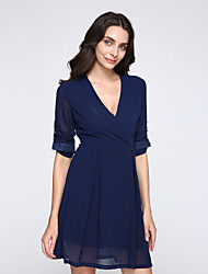 Women's Work A Line Dress,Solid V Neck Above Knee Long Sleeve Blue Cotton Fall