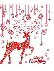 A Set of Christmas Party Decoration Wall Stick Elk Removable New Year Elk Glass Sticker PVC Wall Stickers