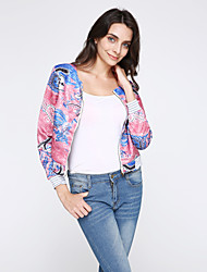 Women's Going out Casual/Daily Street chic Jackets,Print Round Neck Long Sleeve Spring Fall Pink