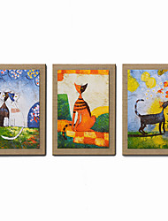 Tiny Tots Room Decor Oil Painting Modern Abstract  Set of 3 Hand Painted Natural Canvas With Stretched Frame
