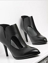 Homme-Extérieure-Noir-Talon Aiguille-Talons-Chaussures à Talons-Cuir