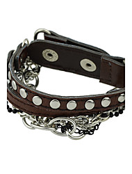 Punk Rock Braided Metal Chain Pu Leather Wrap Bracelets Christmas Gifts