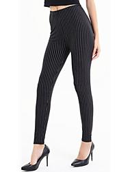 Women Print Striped Black Legging Polyester