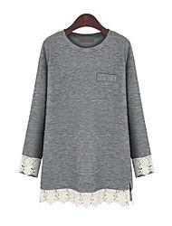 Damen Patchwork Street Schick Lässig/Alltäglich / Übergröße T-shirt,Rundhalsausschnitt Frühling / Herbst Langarm Blau / Grau Baumwolle
