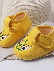 Unisex Flats Spring / Summer / Fall Comfort Cotton Casual Flat Heel Animal Print Yellow / Red Walking