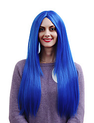 Cheap Wigs Silver Grey Blue 80cm Long Straight Cosplay Ombre Wig Heat Resistant Synthetic Lace Full