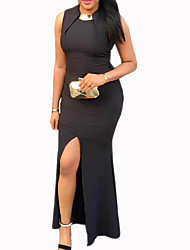 Women's Going out / Party/Cocktail / Club Sexy / Simple Bodycon / Loose DressSolid Round Neck Maxi Sleeveless