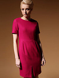 NEW BEFORE  Women's Formal Simple Sheath DressSolid Round Neck Above Knee Short Sleeve