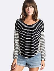 Damen Gestreift Einfach / Street Schick Ausgehen / Lässig/Alltäglich T-shirt,V-Ausschnitt Alle Saisons Langarm Weiß / SchwarzBaumwolle /
