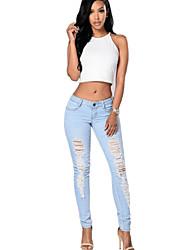 Feminino Skinny Jeans / Chinos Calças-Cor Única Casual Vintage / Moda de Rua Cintura Média Zíper / Botão Poliéster Micro-ElásticoCom