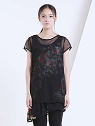 Yishidian® Femme Col Arrondi Manche Courtes T-shirt Noir-ESD465