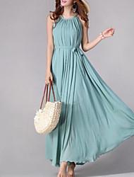 круглый воротник без рукавов стильный длинное платье женская