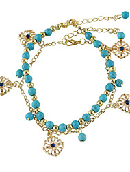 Bohemian Style Gold Plated Blue Beads Chain Anklets Set